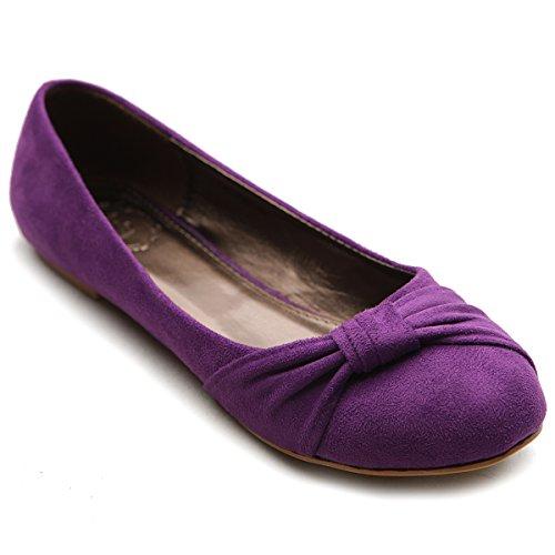 Ollio Women's Shoe Ballet Faux Suede Flat (10 B(M) US, Purple)