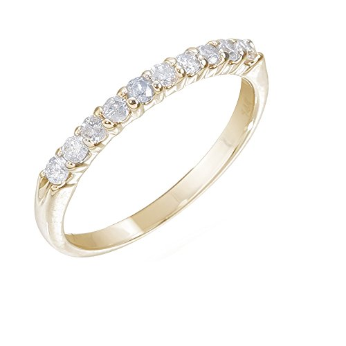 [AGS Certified I1-I2 1/4 ctw Diamond Wedding Band 14K Yellow Gold Size 7] (Certified Diamond Band Ring)