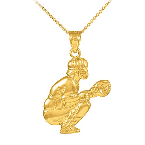 10k Gold Baseball Catcher Sports Charm Pendant Necklace, 22'' by Sports Charms