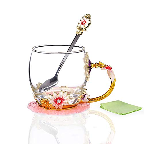 Flower Coffee Cups With Spoon Set and Gift Box, Tea Drinking Mug Top Quality Glass with Enamels Handle, Perfect Gift for Wife,Mum,Girlfriend,Grandma,Teacher on Birthday,Valentine's & Mother's Day ()