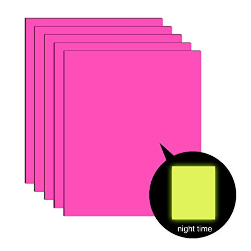 5 Sheets Neon Glow in The Dark Iron-on Heat Transfer Vinyl, Neon Pink Glow Yellow HTV Bundle (12 x 10 inches) for DIY Clothes Like T-Shirts Hats -
