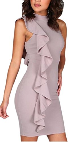 Bodycon Dresses Ruffle Party Mini Jaycargogo Womens Sexy Neck As Mock Picture Side w1anZnpRq4