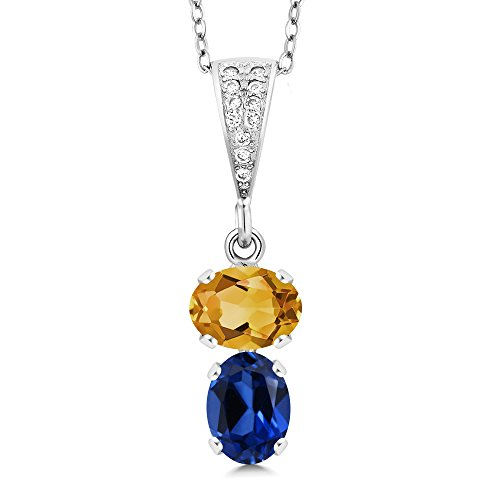 Gem Stone King 2.77 Ct Oval Yellow Citrine Blue Simulated Sapphire 925 Sterling Silver Pendant