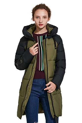 Hooded Mid Length Coat (ICEbear Women's Thickened Casual Down Jacket Hooded Mid-Length Down Puffer Jacket Coats Parkas)