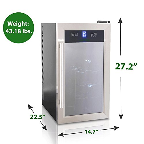 18 Bottle Digital Wine Cooler - Stainless Steel Beverage Refrigerator Chiller Cellar w/ Adjustable Temp Setting, Programmable Door Lock, LED Lights, LCD Digital Display, Electric Plug-in - NutriChef Sound Around PKTEWCDS1805.5