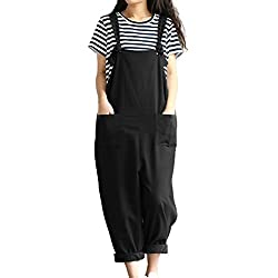 Lncropo Women Large Plus Size Baggy Linen Overalls Casual Wide Leg Pants Sleeveless Rompers Jumpsuit Vintage Haren Overalls (Black,XXL)
