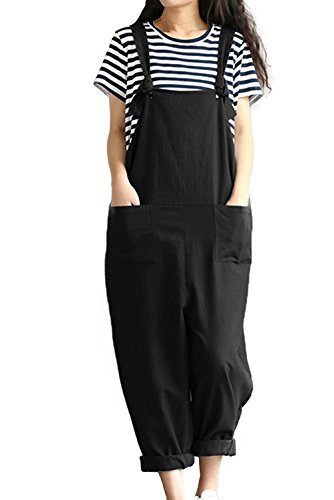 ab0bb75736d5 Lncropo Women Large Plus Size Baggy Linen Overalls Casual Wide Leg Pants  Sleeveless Rompers Jumpsuit Vintage