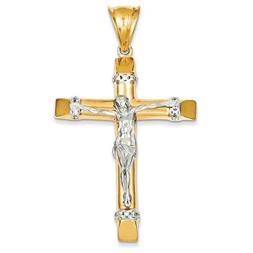 14 carats-Bicolore-Crucifix CZ pendentif-Dimensions :  40,8 x 67,8-JewelryWeb mm