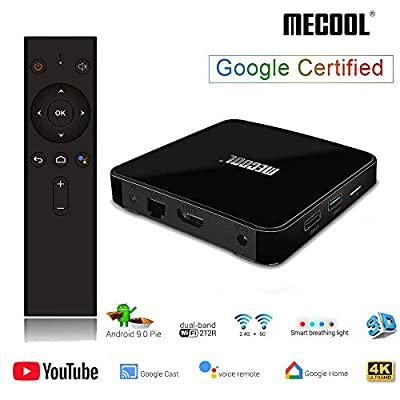 Android 9.0 TV Box, MECOOL KM3 TV BOX 4GB + 64GB Quad Core DDR4, Streaming Media Player 3D 4K HDR U-HD, Supports 2.4G/5G WiFi 2T2R BT 4.0 USB 3.0 , with Function Chromecast(Support Netflix SD, not HD)