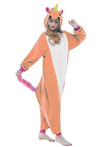 NEWCOSPLAY Halloween Cosplay Animal Unisex Adult Onesies Costume (M, Unicorn Grange) (Halloween Clothing For Adults)