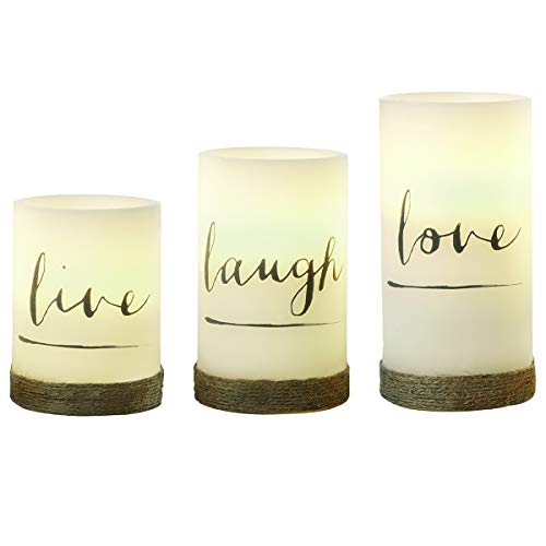 3-Piece Flickering LED Candle Set with Daily Timer by Order Home Collection, Flameless Candles, Real Wax, Battery Powered, Light Dances and Flickers, Twine-Wrapped Tiered Pillars (Live, Laugh, Love)