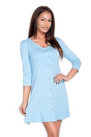futuro fashion Damen Mini Kleid mit Knöpfe V Ausschnitt 3/4 Ärmel 8995 -  Babyblau