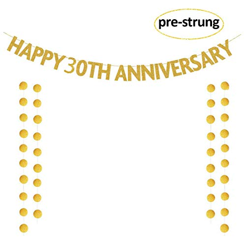 30th Anniversary Decorations (Glittery Gold Happy 30th Anniversary Banner, 30th Anniversary Party Garland Sign for Birthday Wedding Anniversary Party, Photo Prop)