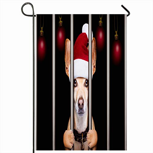 Ahawoso Garden Flag 12x18 Inches Guilty Mugshot Christmas Santa Bad Dog Behind Sports Burglar Recreation Advent Arrest Bars Caught Decorative Seasonal Double Sided Home House Outdoor Yard Sign -