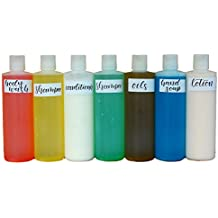 Bonus 7 Pack Squeeze Plastic Bottle 16 oz Press Disc Cap 10 FREE BLANK LABELS for Shampoo, Soap, Conditioner, Lotion, Oils