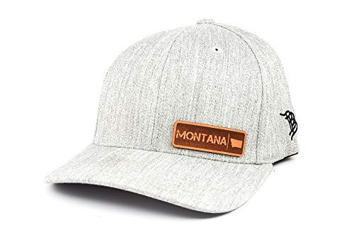 - Branded Bills 'Montana Native' Leather Patch Hat Flex Fit - SM/MD/Heather Grey