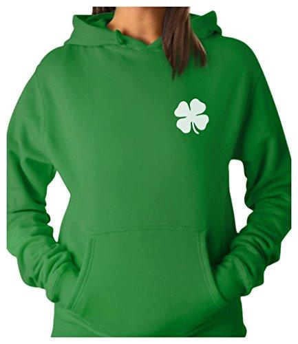 ish Shamrock Pocket Size Clover ST. Patrick's Day Women Hoodie Large Green (Clover Hoodie)
