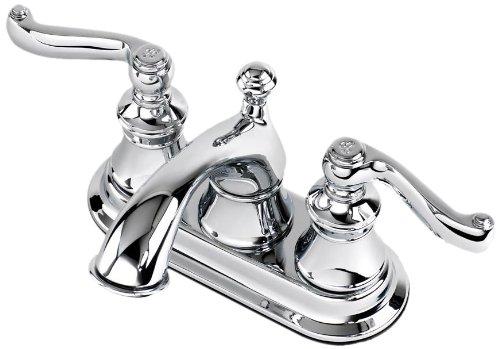 Faucet Scroll (Aqueous 120B42CYCH Scroll Lavatory Faucet 2-Lever Handles Centerset, Chrome)