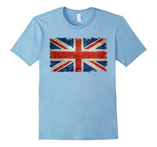 Mens UK Union Jack Flag T-Shirt in vintage retro style 3XL Baby Blue