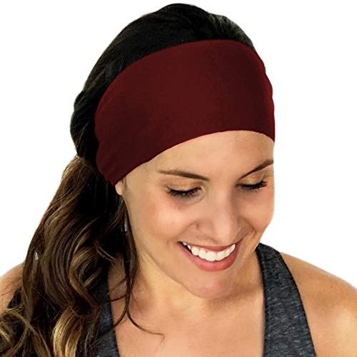 Women Solid Color Sports Yoga Sweatband Gym Soft Stretch & Moisture Wicking Headband Hair Band for Ladies Accessories (Wine)]()