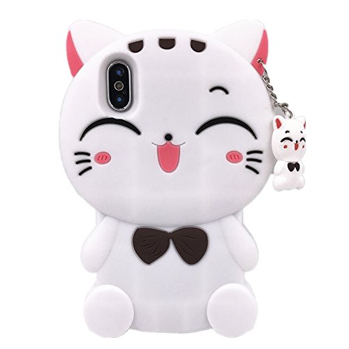 (iPhone X Case WGSSB Fashion Cute 3D Cartoon Lucky Fortune Plutus Cat Kitty Cases Cover Vivid Soft and Protective Silicone Rubber Shockproof Phone Case for Apple iPhone X (2017) (White)