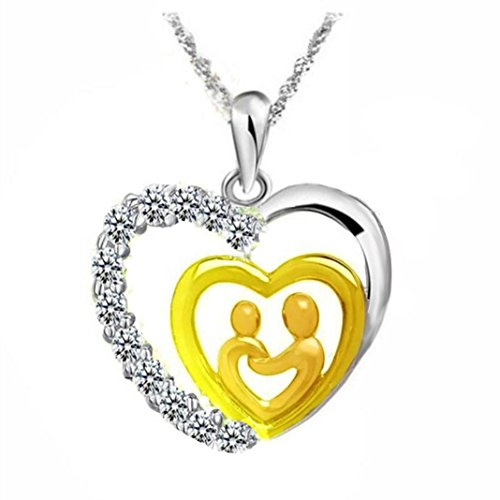 Necklace, Hot Sale! Mother's Day Gifts for Mom and Baby Heart Mosaic Zircon Pendant Necklace Mom Gifts Charm Fashion Chain Gifts for Mum from Son Daughter Gifts (Gold - Double Heart, copper) ()