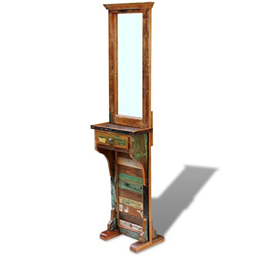BestHomeFuniture Solid Reclaimed Wood Hall Bathroom Mirror with 1 Drawer Standing Home ()