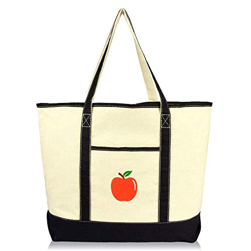 DALIX Apple Tote Bag Reusable Grocery Natural Canvas Fruits in Black