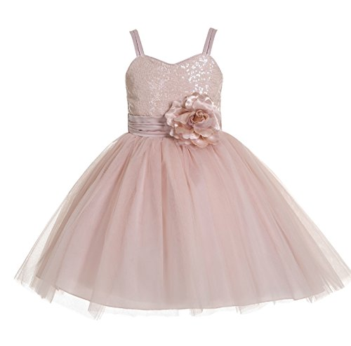 ekidsbridal Spaghetti-Straps Sequin Tulle Flower Girl Dress Birthday Girl Dress B-1508NF ()