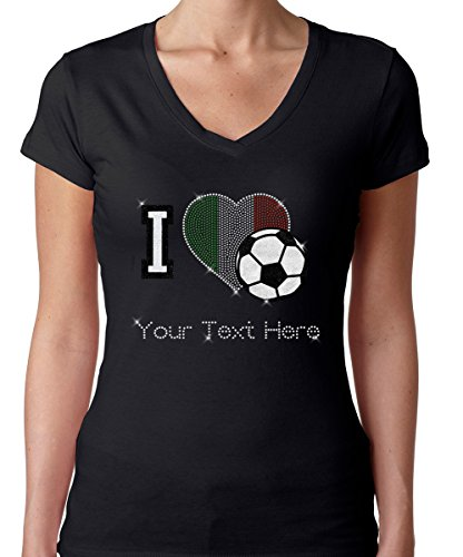 (Mexico Personalized Rhinestone Gem Bling Womens Tshirt Tee V-Neck Soccer Football Your Name Small)
