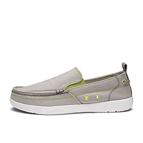 12 Breathable Mens Shoes Casual Lightweight Canvas Slip On Men Grey Loafers Classic Mens Shoes Jeans Gray 8 -
