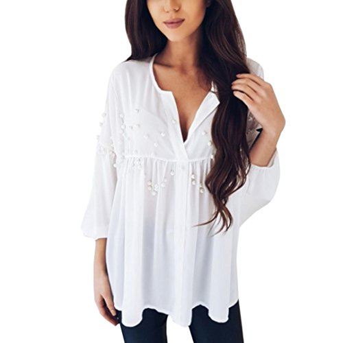 ��Womens Blouse❤️Summer Womens Chiffon Crop V-Neck Shirt Loose Tops White Beading Casual Tshirt (White, L) (Casual Loose Beadings)