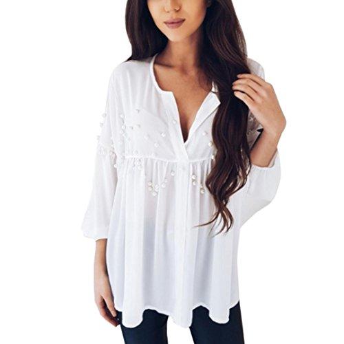 ��Womens Blouse❤️Summer Womens Chiffon Crop V-Neck Shirt Loose Tops White Beading Casual Tshirt (White, L) (Casual Loose Beadings)