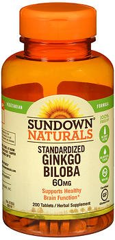 Sundown Naturals Standardized Ginkgo Biloba 60 mg Herbal Supplement Tablets - 200 ct, Pack of 4 by Sundown Naturals