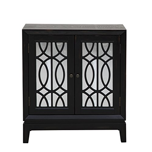 Pulaski DS-A092021 Mirrored Two Door Accent Chest Cabinet with Ogee Overlay and Black Finish (Pulaski 2 Door Cabinet)