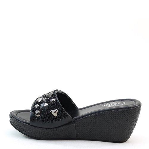 New Brieten Womens Studded Wedge Platform Black Comfort Slides Sandals Msnziclr6