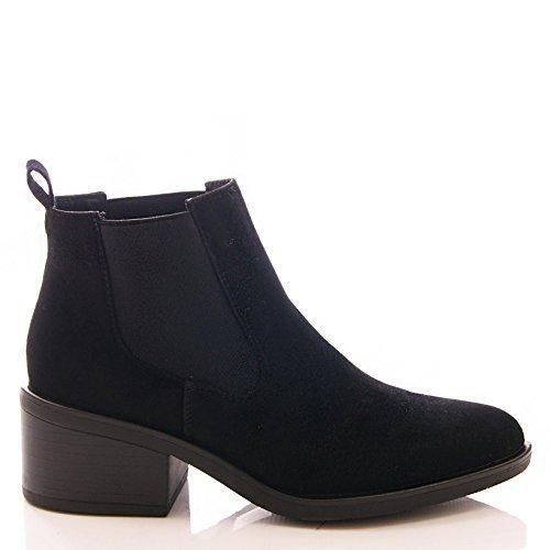 DE MUJER CHELSEA TACÓN BAJO BOTINES NEGROS CASUAL ZAPATOS TALLA - Negro Ante Artificial, mujer, 3 UK / 36 EU: Amazon.es: Zapatos y complementos