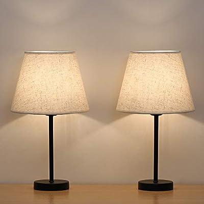 Amazon.com: HAITRAL Lámpara de mesa con pantalla de tela ...