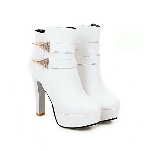 Pu AgooLar White Low Boots Zipper Heels Top Women's Solid High vv5rqOz