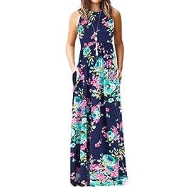 YOINS Women Sleeveless Floral Maxi Dresses Summer Casual Printed Dress Round Neck High Waist Long Sun Dresses