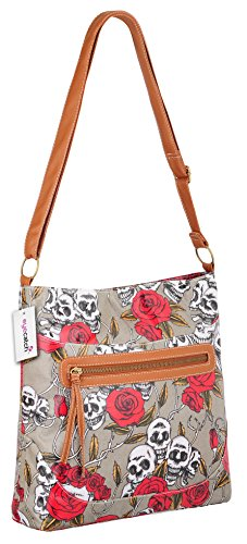 Grey Brand Bag Body Womens Ladies Cross Roses Design Shoulder Skull EyeCatch rarSzv