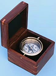 Gimbaled Boxed Nautical Brass Compass with Hand Inlayed Compass Rose