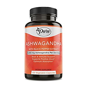 Pure by Nature Organic Ashwagandha Capsules 1200Mg Ashwagandha Powder with Black Pepper for Enhanced Absorption, 120 Count