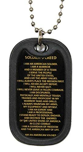 Soldier's Creed Dog Tag with silencer and chain