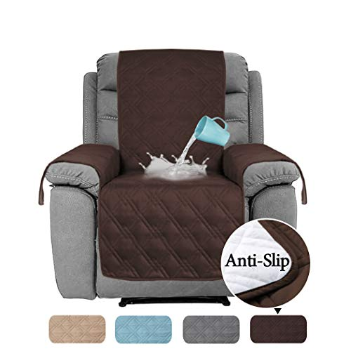 H.VERSAILTEX 100% Water Proof Oversized Recliner Chair Covers Furniture Cover Non Slip Backing Keep Stay in Place Furniture Covers for Recliner (Oversized Recliner: Brown) - 91 inch x 84 inch