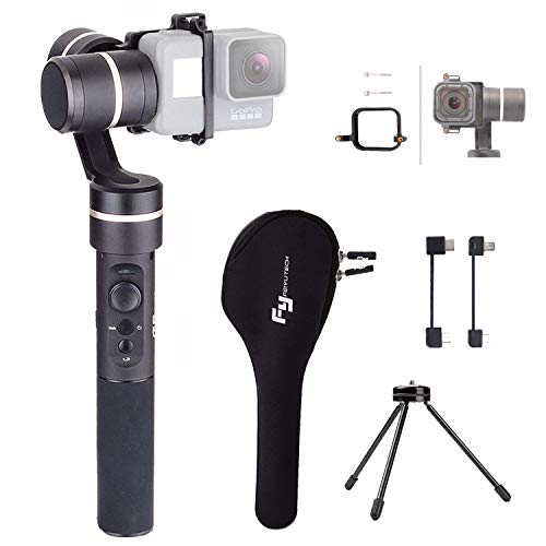 Feiyu G5 V2 3-Axis Splash-Proof Handheld GoPro Gimbal Action Camera stabilizer for GoPro 5 4 Session/Hero7 6/5/ 4/3+ /3, Yi 4K, AEE Action Cameras with EACHSHOT Mini Tripod and GoPro Session Adapter