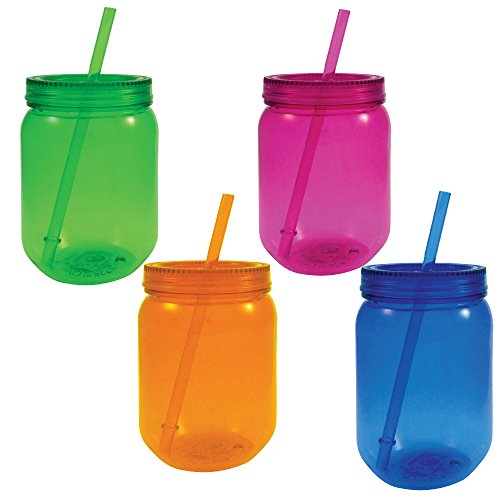 Mason Jar Plastic Neon with Lid and Straw 24 oz 4 Pack Assorted Colors