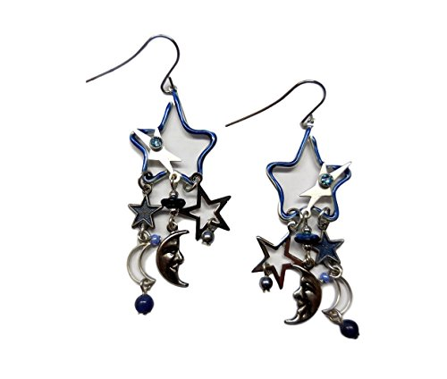 Silver Forest Blue and Silvertone Stars Moons and Beads Dangling Earrings