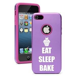Apple iPhone 5 5s Purple 5D2328 Aluminum & Silicone Case Cover Eat Sleep Bake Cupcake