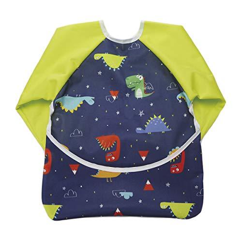 Hi Sprout Toddler Baby Waterproof Sleeved Bib, Bib with Sleeves&Pocket, 6-24 Months